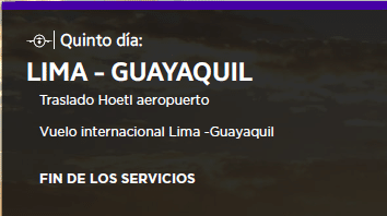 DÍA 5: LIMA GUAYAQUIL